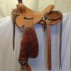 "saddle # 5615, Will James tree, 15 1/2 "" tree, 4"" cantle, in-seat rigging"