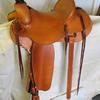 "#1806; Chuck Shepard Tree, 16"" seat, #2 dally horn 3 1/2"" high, 2 1/2"" cap, 4"" straight up cantle, flat plate 7/8 rigging, leather covered 3"" Visalia stirrups, latigo wrapped horn."
