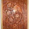 Photo album with windmill scene, flowers & wood carving.